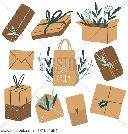 Eco Packages And Green Leaves. Natural Craft Paper Package. Hand Drawn Eco Life Concept. Flat Vector