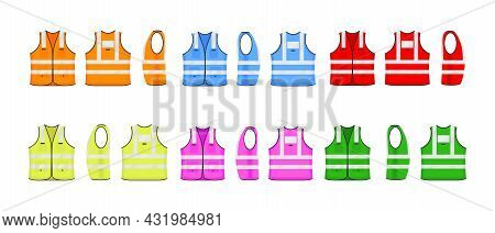 Safety Reflective Vest Icon Sign Flat Style Design Vector Illustration. Various Color Fluorescent Se