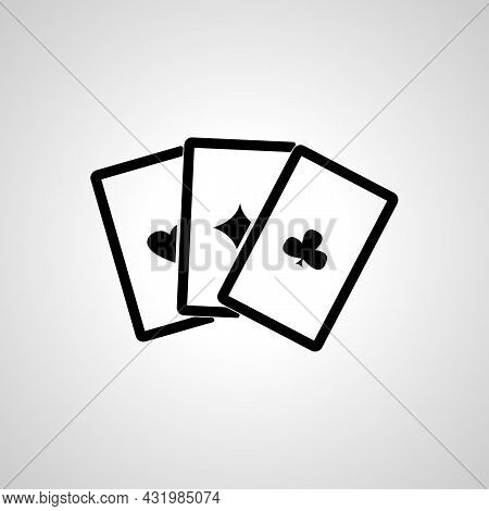 Game Cards Vector Line Icon. Playing Cards Linear Outline Icon