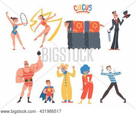 Circus Artist Character With Clown, Illusionist And Gymnast With Ribbon And Hula Hoop Performing On