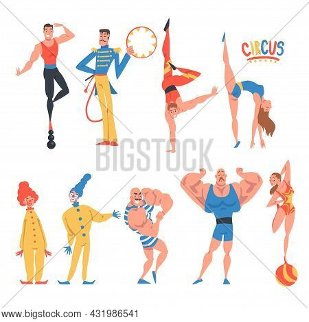 Circus Artist Character With Clown, Strongman And Acrobat Balancing On Ball Performing On Stage Or A