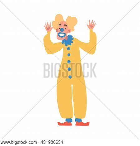 Man Clown With Makeup Face And Flamboyant Costume As Circus Artist Character Performing On Stage Or