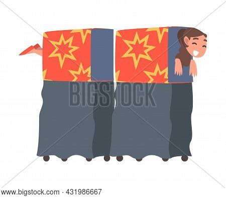 Woman Divided In Half As Circus Assistant Character Performing On Stage Or Arena Vector Illustration