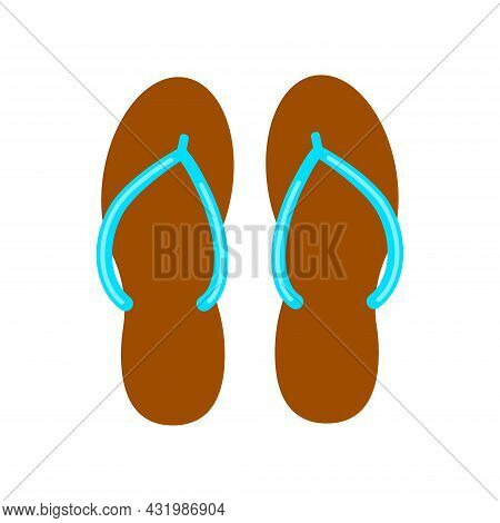 Flip Flop Summer Slippers Pair Vector Icon Isolated On White Background.