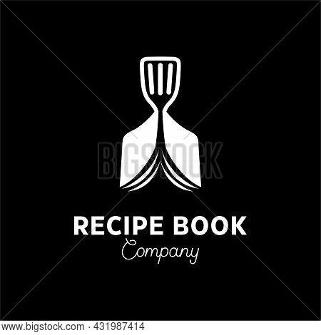 Cookbook Logo Icon Symbol With Recipe Book With Cook And In Simple Negative Space Style Logo
