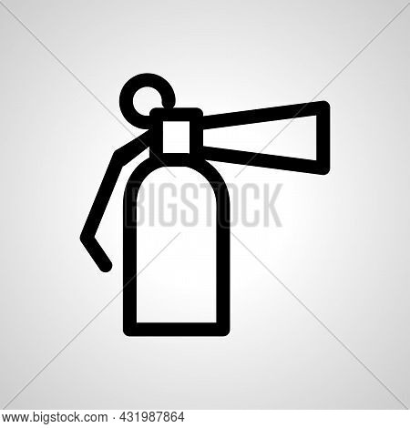 Fire Extinguisher Line Icon, Fire Extinguisher Simple Line Icon