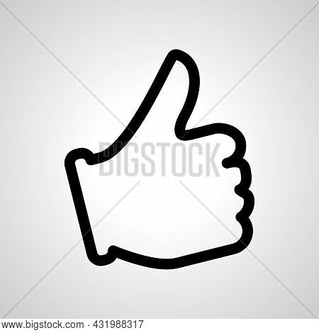 Like Line Icon, Hand Like Simple Vector Icon