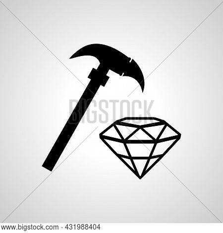 Diamond Mining Hammer Simple Vector Icon. Mining Hammer Isolated Icon.