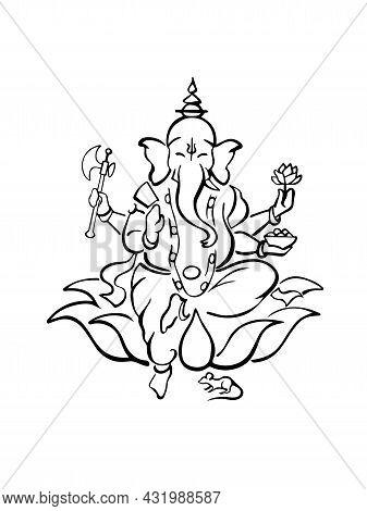 Ganesh, Hindu Elephant Headed God Of Wisdom, Sitting On Lotus With Axe, Rose, Bowl, Blessing. Modern