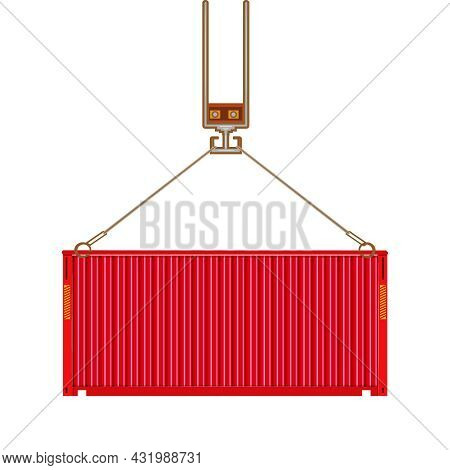 Freight Shipping Container Hanging On Crane Hook Isolated On White Background. Port Crane Lifts Carg