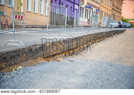 Prague, Czech Republic - 12.08.2021: Fragment Of A Road Being Repaired With A Layer Of Removed Aspha
