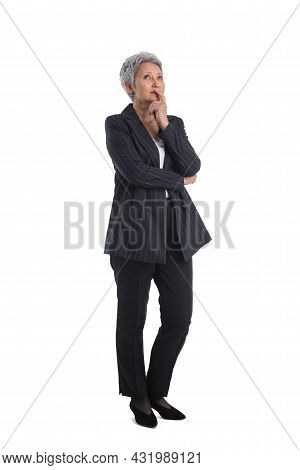 Full Length Of Mature Asian Business Woman Thinking Looking Upwards, Isolated On White Background
