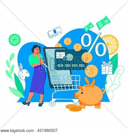 Savings On Online Purchases And Cashback Concept. Customers Reward And Cash Refund For Clients Loyal