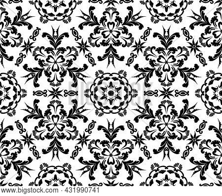 Seamless Vintage Pattern With Vignettes And Flowers. Rich Victorian Ornament For Textile, Wallpaper,