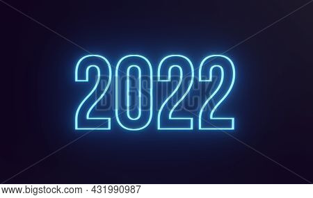 Simple Neon Happy New Year 2022 Text On Dark Background. 3d Rendering Illustration