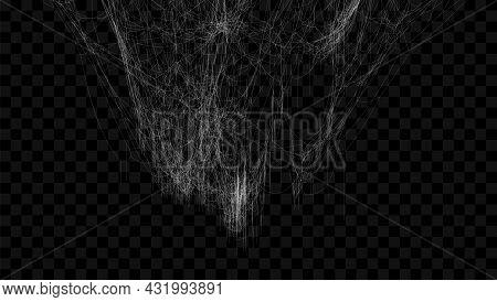 Realistic Spider Web. Hanging Cobweb For Halloween Design. Vector Illustration.