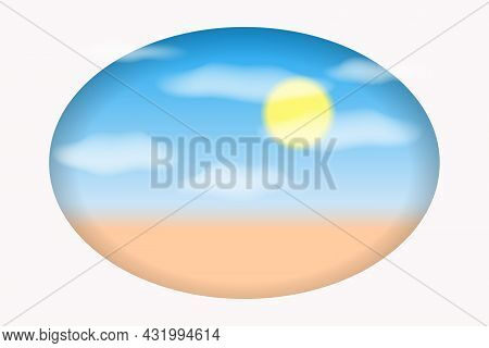 Summer Background With Sea Beach. White Clouds, Blue Sky And Sun In The Paper Cut Out Style