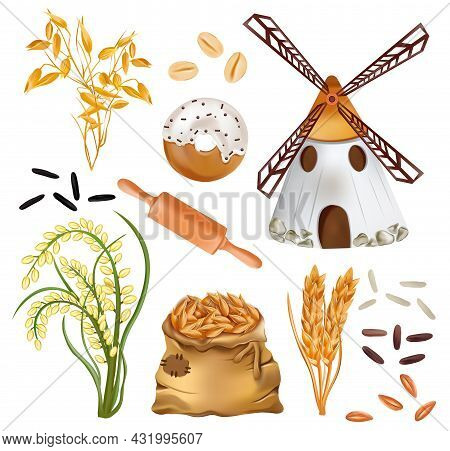 Cereals Barley, Ears Of Wheat And Windmill, Rice, Bakery Products, Sack With Wheat, Oats On White Ba