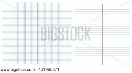 Vector Blank With Columns Set. Table Graph In Horizontal Line Together With Square Grid Lines Cells