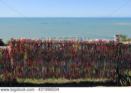 Porto Seguro, Bahia, Brazil - July 18, 2021: Colorful Ribbons In The Historic Center (cidade Alta) O