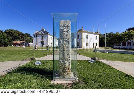 Porto Seguro, Bahia, Brazil - July 18, 2021: View Of The Historic Landmark And Characteristic Archit