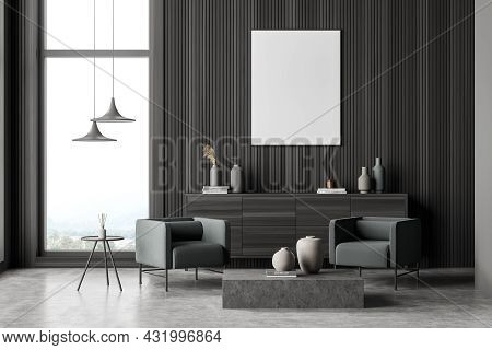 Poster In The Modern Dark Grey Living Room With Wood Wall Panels, A Sideboard, Pendant Lamps, Coffee