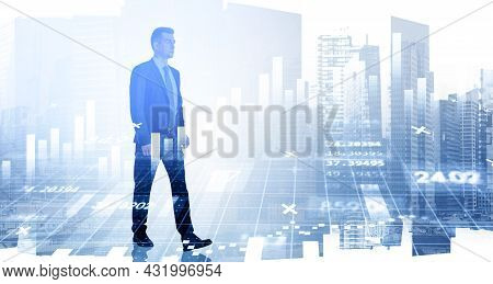 Serious Ambitious Businessman Is Walking. Singapore City Skyscraper In The Background. Financial Cha