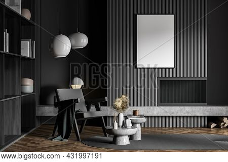 Dark Grey Living Room With Poster Over Fireplace, Armchair, Coffee Table Combination, Oval Rug, Book
