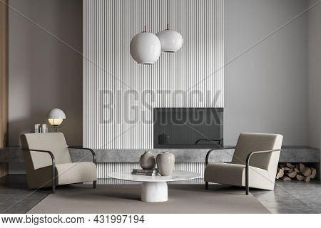 White And Grey Living Room With Beige Armchairs With Coffee Table, Pendant Lamps, Fireplace, Shelf A