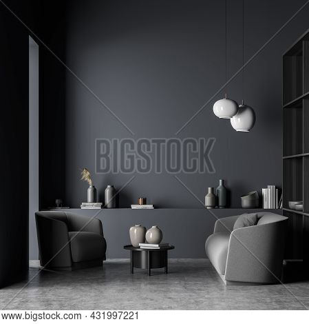 Grey Living Room With Two Accent White Pendant Lights, A Sofa With Armchair, A Darker Coffee Table,