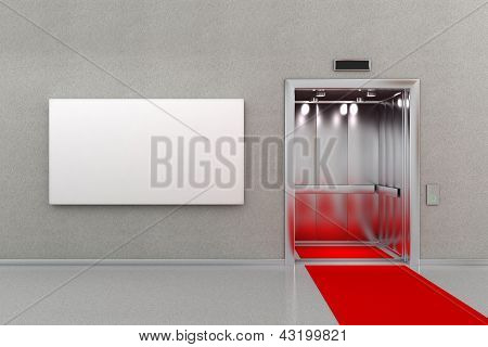 Elevator With Red Carpet And Billboard