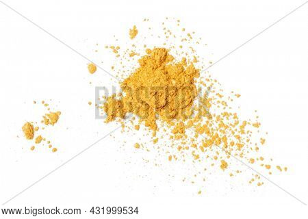 Heap of gold powder dust isolated on white background