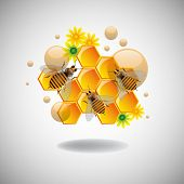 Abstract colorful illustration with honeycomb cells, flowers and bees isolated on a clean background poster