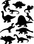 This is a vector illustration of a dozen dinosaur silhouettes. poster