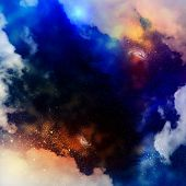 Cosmic clouds of mist on bright colorful backgrounds poster