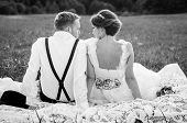 Happy couple on wedding day. Bride and Groom. poster
