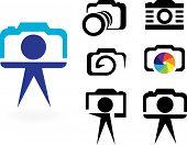 stylized photo camera on a white background poster