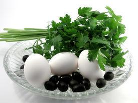 White eggs on white background