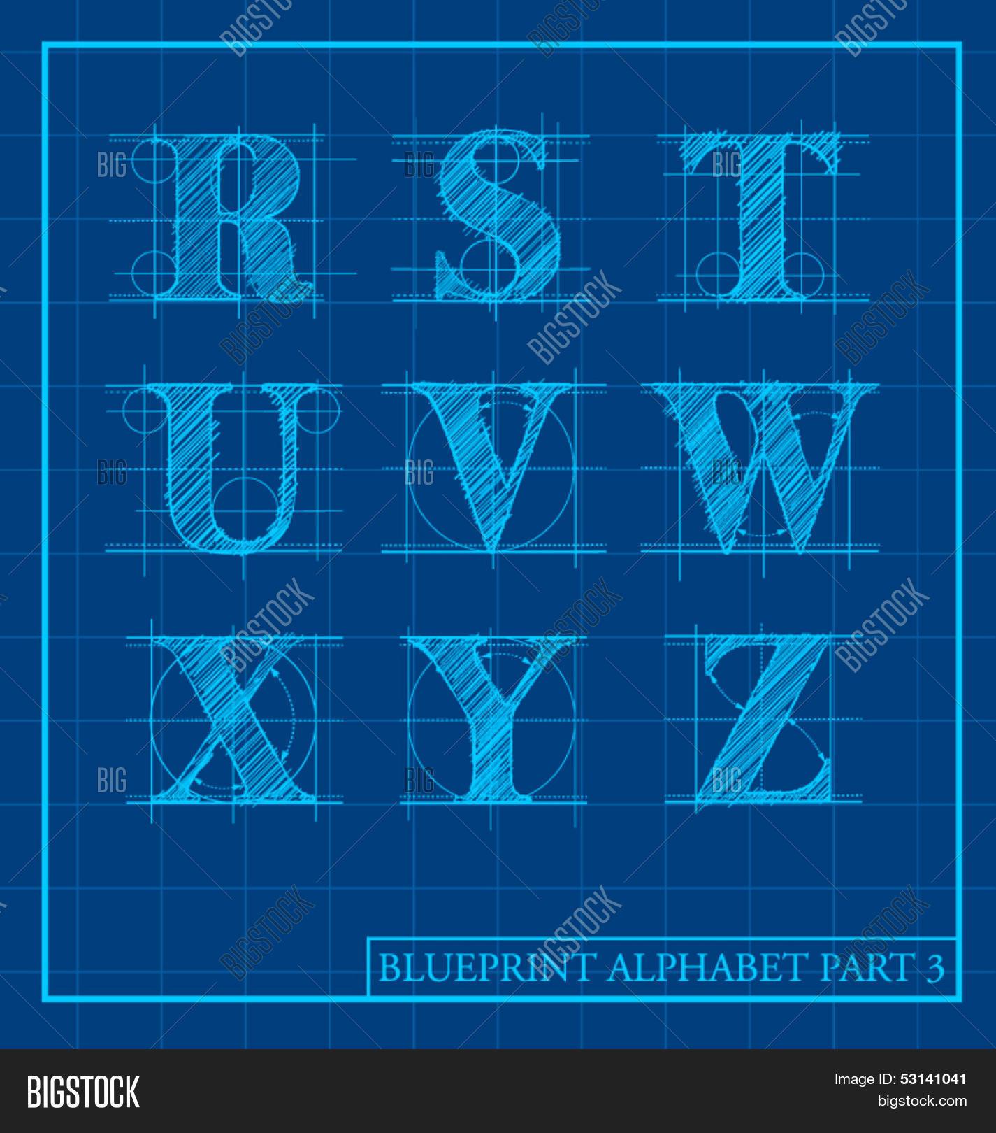 Vector blueprint style font vector photo bigstock vector blueprint style font alphabet set 3 malvernweather Choice Image