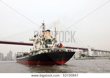 Cargo Ship In Shanghai, China