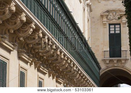 Detail Of Grandmasters Palace In Valletta, Malta