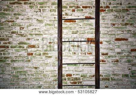 Old Metal Ladder With Brick Wall Closeup Detailed Texture