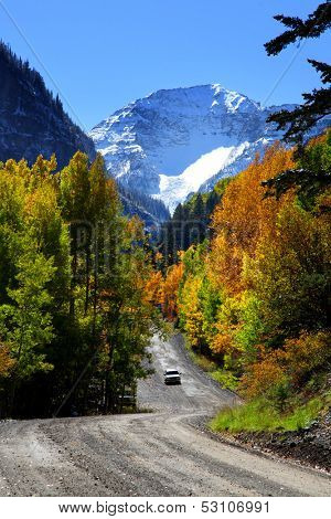 Scenic back road driving in Colorado San Juan mountains poster
