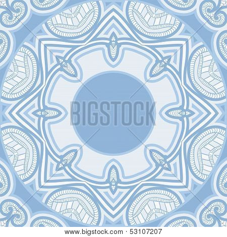 Patterned floor tile in oriental style vector background in light blue and white colors. poster