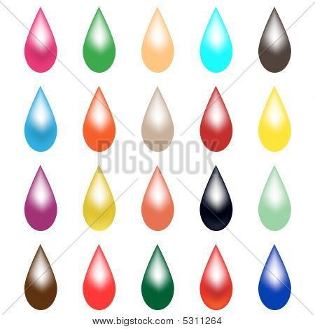 Set Of Colored Raindrops - Vector
