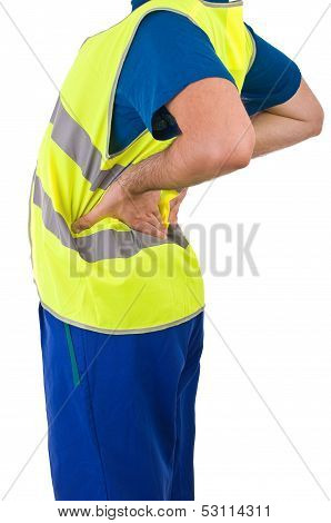 Image of a Blue collar worker with back ache. poster