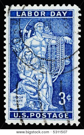 A 1956 issued 3 cent United States postage stamp showing Labor Day AFL-CIO Headquarters Mosaic. poster