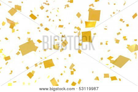 Gold confetti falling on a white background.