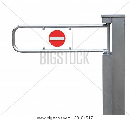 Entrance Tourniquet With Red No Entry Sign, Detailed Stainless Steel Turnstile, Isolated Closeup