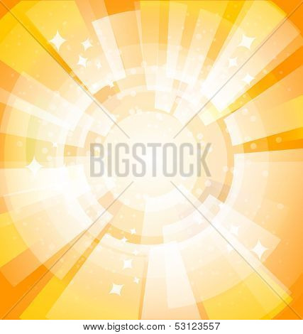 Yellow bright background with rays. Vector illustration. Eps 10